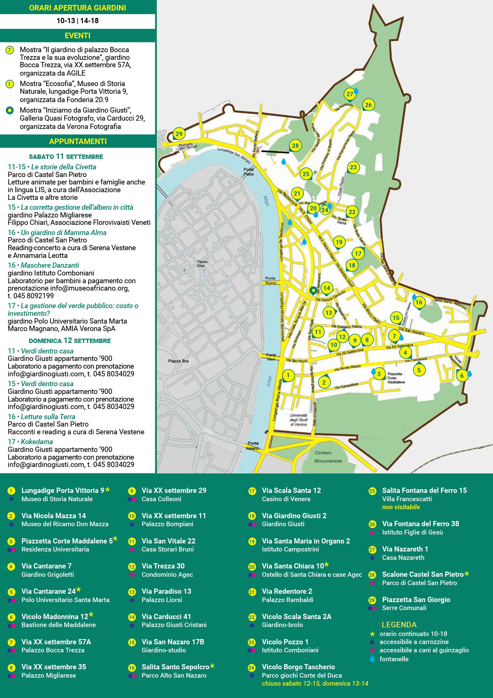 Mappa Eventi Giardini Aperti a Veronetta 2021